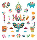 Set of Holi flat icons in indian style. Vector illustration