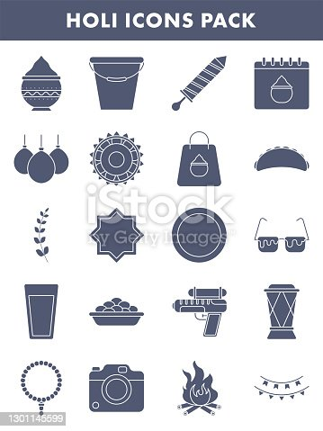 Set Of Holi Icons Or Symbol In Blue And White Color.