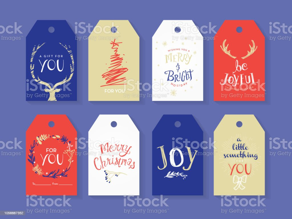 Vector illustration of a set of Holiday Christmas gift tags with...