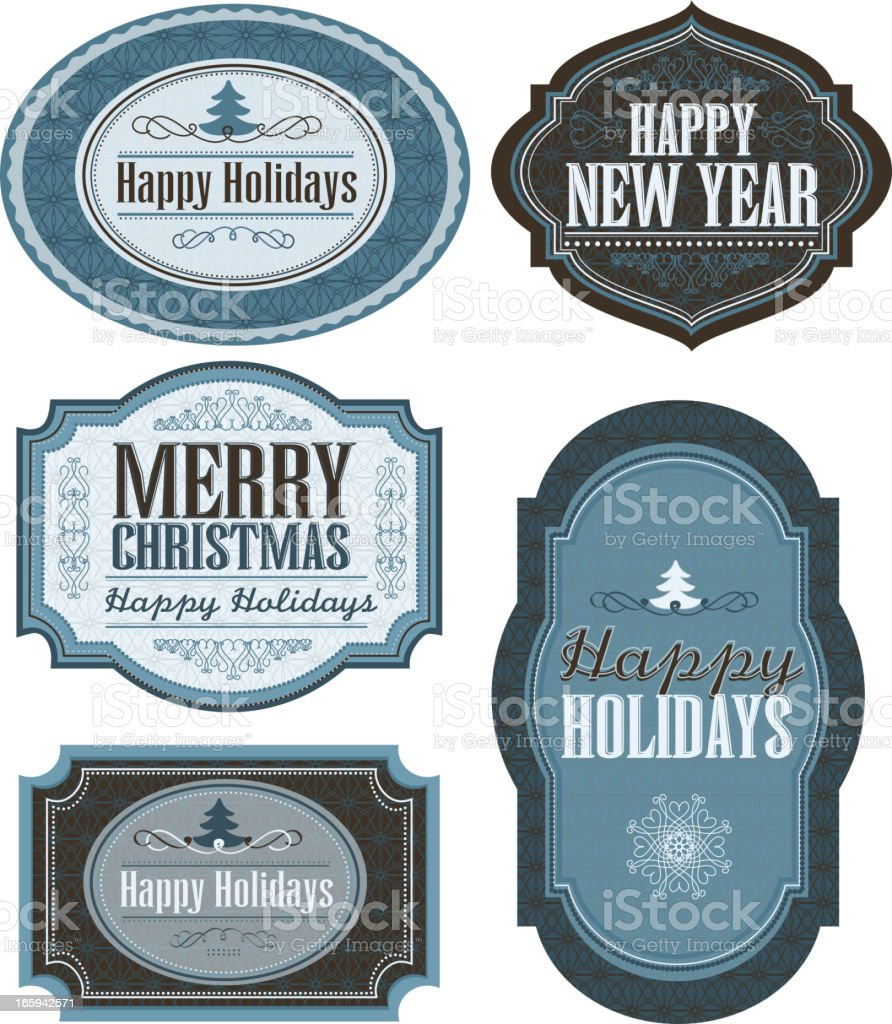 Set of holiday Christmas themed labels vector art illustration