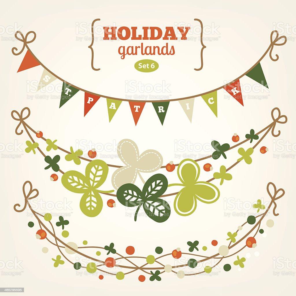 Set of holiday garlands - St. Patrick's Day vector art illustration