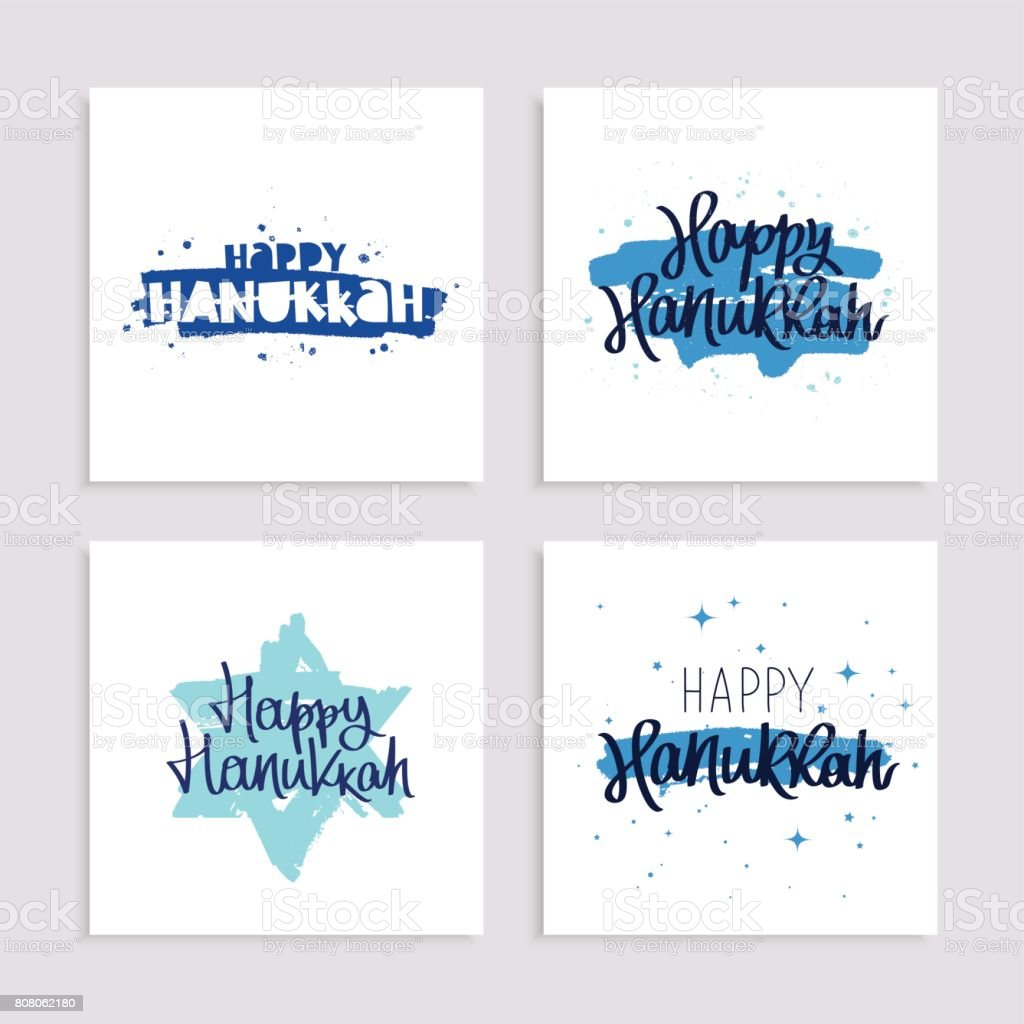 Set of holiday gift cards to Happy Hanukkah vector art illustration