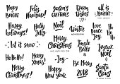 Holiday greeting quotes and wishes isolated on white. Hand drawn text, brush lettering. Merry Christmas, Happy New year, Happy Holidays. For cards, gift tags and labels, photo overlays, party posters.
