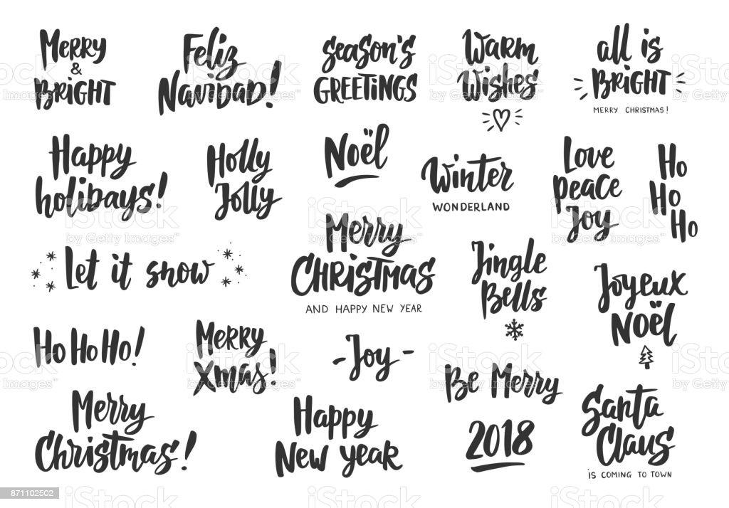 Satz von Urlaub Gruß Zitate und Wünsche. Text von Hand gezeichnet. Ideal für Foto-Overlays und Etiketten, Karten, Geschenkanhänger, party-Plakaten. – Vektorgrafik