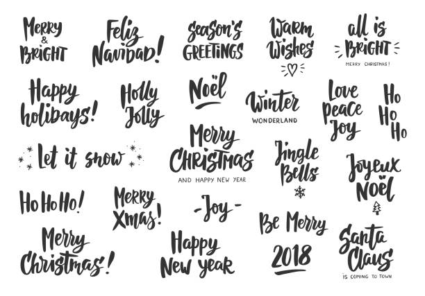 Set of holiday greeting quotes and wishes. Hand drawn text. Great for cards, gift tags and labels, photo overlays, party posters. Holiday greeting quotes and wishes isolated on white. Hand drawn text, brush lettering. Merry Christmas, Happy New year, Happy Holidays. For cards, gift tags and labels, photo overlays, party posters. single word stock illustrations