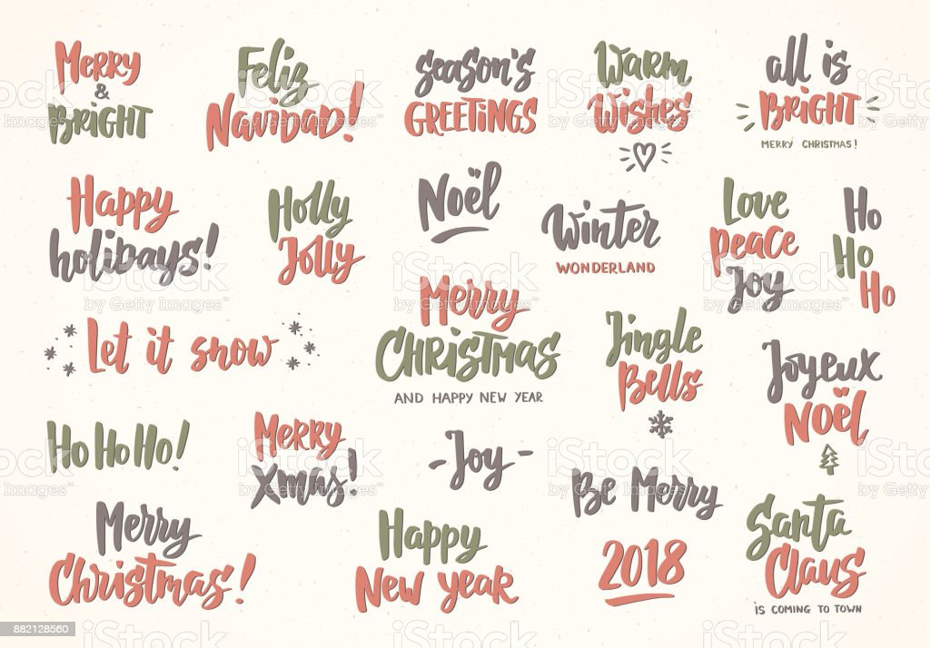 Set of holiday greeting quotes and wishes hand drawn text great for set of holiday greeting quotes and wishes hand drawn text great for cards m4hsunfo