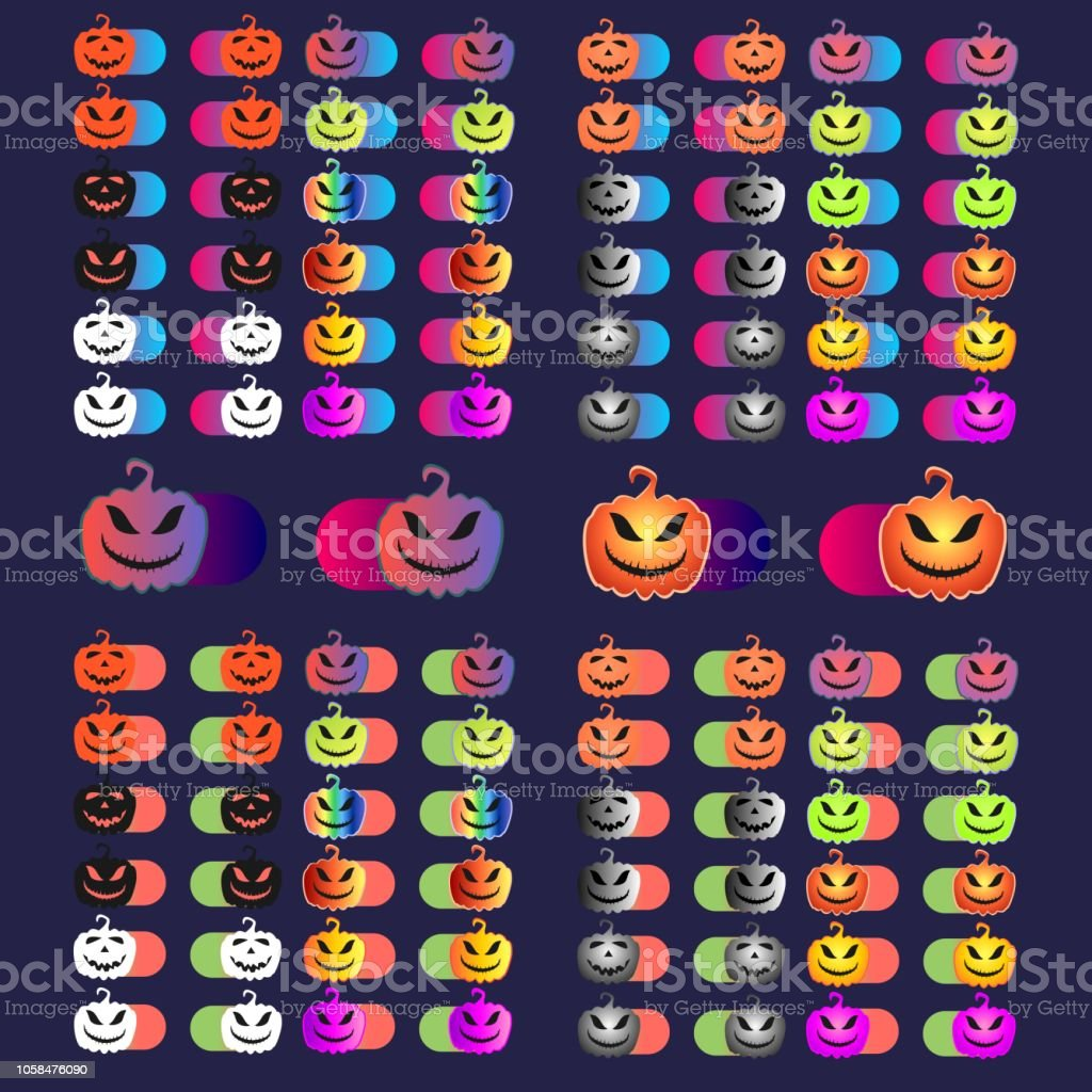 Set of holiday Halloween switch icons for a mobile application or...