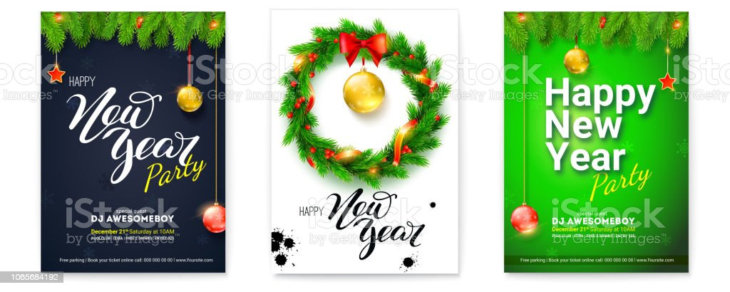 Set of holiday posters for Happy New Year events. Covers with design...