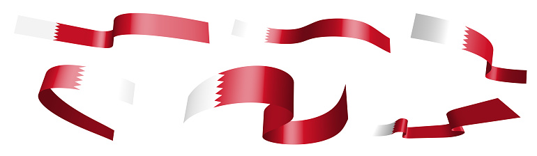 Set of holiday ribbons. Bahrain flag waving in wind. Separation into lower and upper layers. Design element. Vector on white background