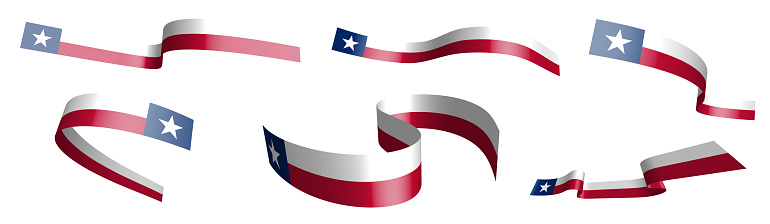 Set of holiday ribbons. flag of american state of Texas waving in wind. Separation into lower and upper layers. Design element. Vector on white background