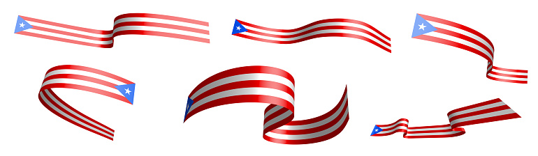 Set of holiday ribbons. Flag of Puerto Rico waving in wind. Separation into lower and upper layers. Design element. Vector on white background