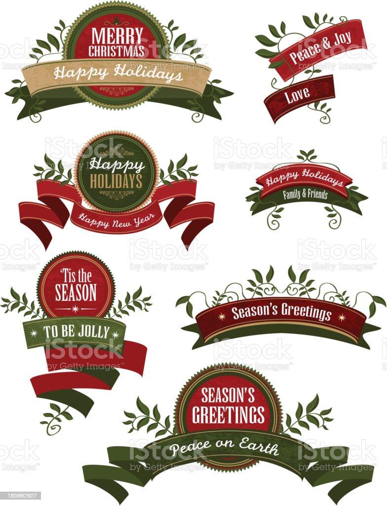 Conjunto de fitas e detalhes com tema de natal dar - ilustração de arte em vetor