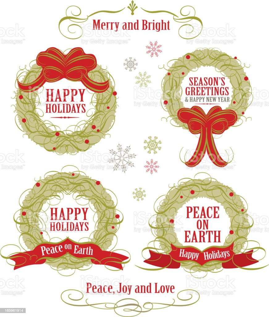 Set of Holiday wreaths with words on white background vector art illustration