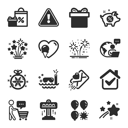 Set of Holidays icons, such as Attraction, Love letter, Buyer think symbols. Vector