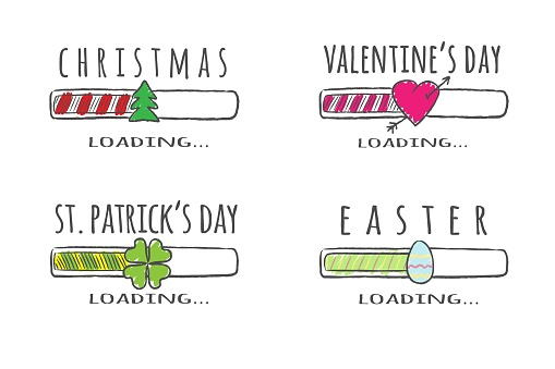 Set of holidays progress bar with inscriptions - Christmas, Easter, Valentines day, St. Patricks day loading. Vector illustration for t-shirt design, poster or greeting card.