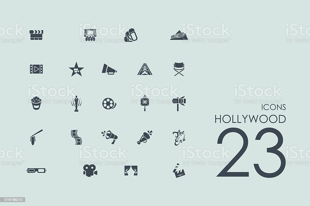 Set of Hollywood icons vector art illustration
