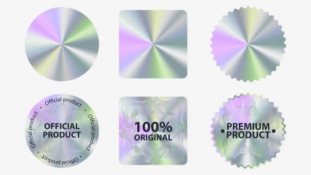 Set of hologram label geometric shapes vector flat illustration