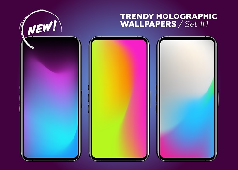 Set of Holographic Gradients. Vector Modern Bright Background. Abstract Neon Texture. Minimal Posters in Hipster Style. Dynamic Vibrant Design. Colorful Abstract Gradient Blurs, Fluid Colors.