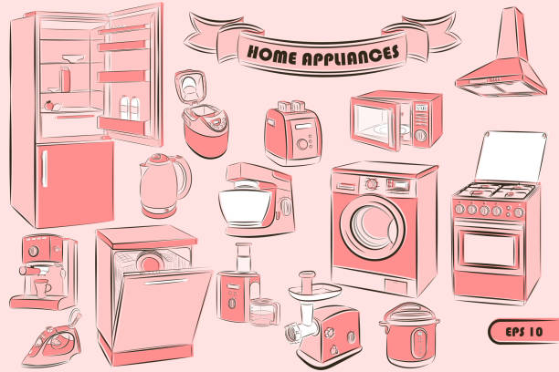ilustrações de stock, clip art, desenhos animados e ícones de a set of home appliances in the sketch style for your unique design of printed products and the internet. vector illustration. - baking bread at home