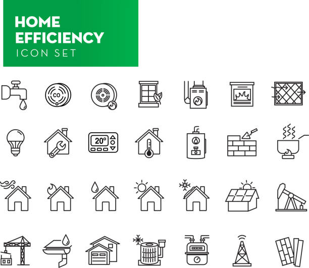 Set of Home Efficiency icon in thin line style Vector illustration of a Set of Home Efficiency icon in thin line style. Includes lot's of exterior home and weather elements such as furnace, hot water tank, thermostat, windows, natural gas or resources icons for efficiency, LED lighting, heating, cooling cooking, air flow, co2 detector, smoke alarm, eco-friendly building supplies and construction, drainage and plumbing, Black and white set in EPS 10 format. cooking clipart stock illustrations