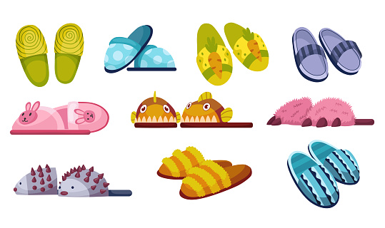 Set of home footwear slippers. Soft comfortable slip on shoe for home in the differnt form. Pair slippers, textile domestic outfit element or garment shoes soft fabric