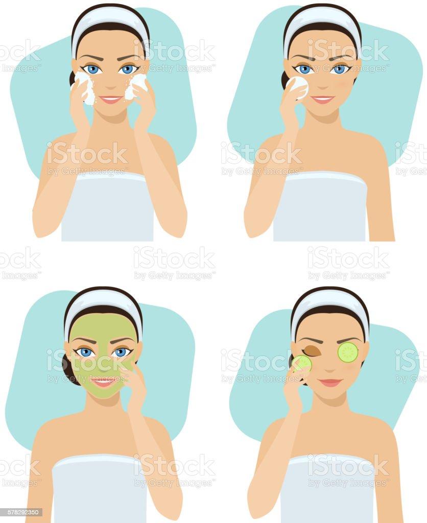 Set of home remedies vector art illustration