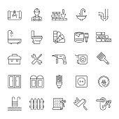 Set of Home Repair and Maintenance Related Line Icons. Editable Stroke. Simple Outline Icons.