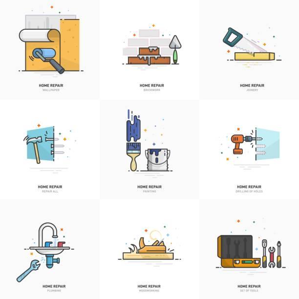 illustrations, cliparts, dessins animés et icônes de une série de logos de réparation à domicile. - logo peintre en batiment