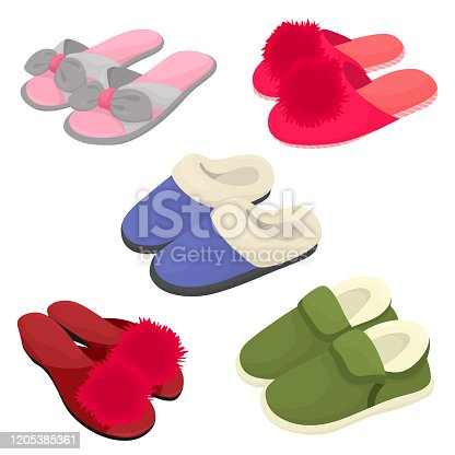 istock Set of home slippers, warm and summer slippers with pompons .. Vector isolates in cartoon flat style. 1205385361
