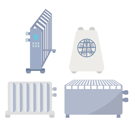 Set of Home warm heaters icons. Collection of heating system for house used in cold seasons. Radiators isolated on a white background. Vector illustration in flat style.