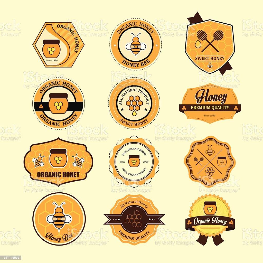 Satz von Honig und Biene Etiketten für Honig Abzeichen. – Vektorgrafik