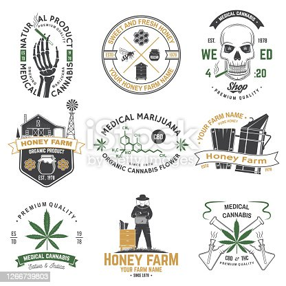 istock Set of Honey bee farm and medical cannabis shop badge. Vector. Concept for shirt, print, stamp or tee. Design for honey bee farm, weed shop, marijuana delivery 1266739803