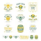 Set of honey beer labels, badges and design elements. Color print on white background