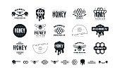 Set of honey labels, badges and design elements. Black print on white background