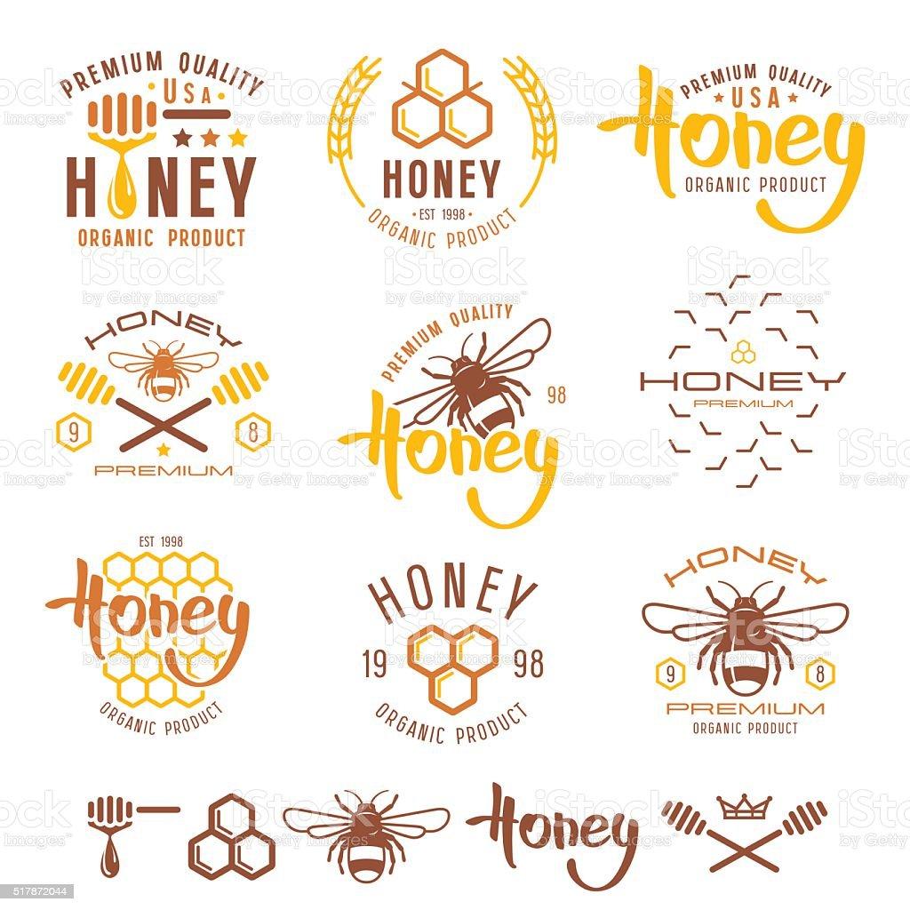 Set of honey labels, badges and design elements vector art illustration