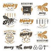 Set of honey labels, badges, logotypes and design elements. Color print on white background