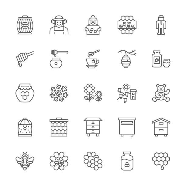set von honey-line-icons. imker, schutzanzug, apiary, beehive und mehr. - bienenwachs stock-grafiken, -clipart, -cartoons und -symbole