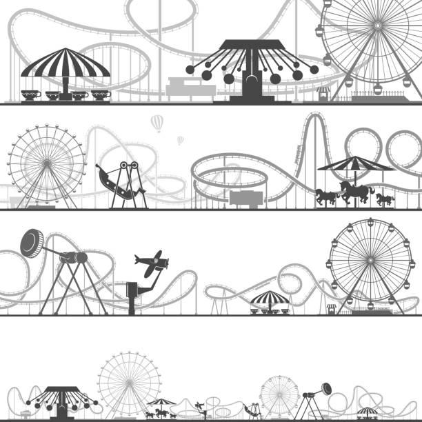 Set of horizontal amusement park silhouettes. Vector illustrations of roller coasters vector art illustration