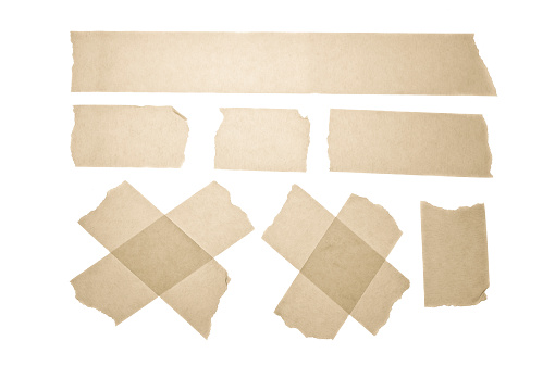 Set of horizontal and different size sticky tape. Scotch. Masking Tape Vector Collection
