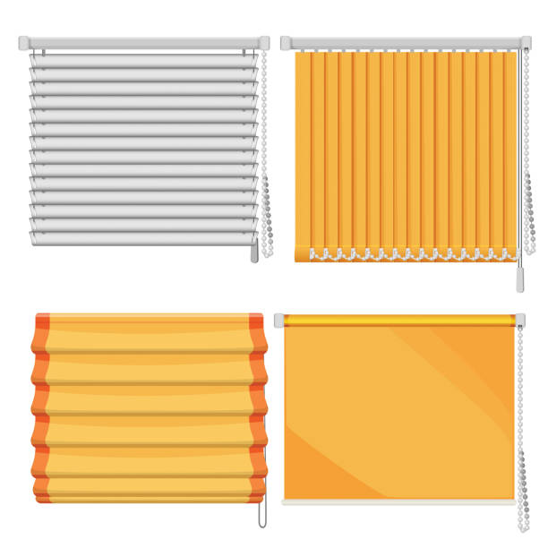 set of horizontal and vertical window blinds vector illustration - store stock illustrations