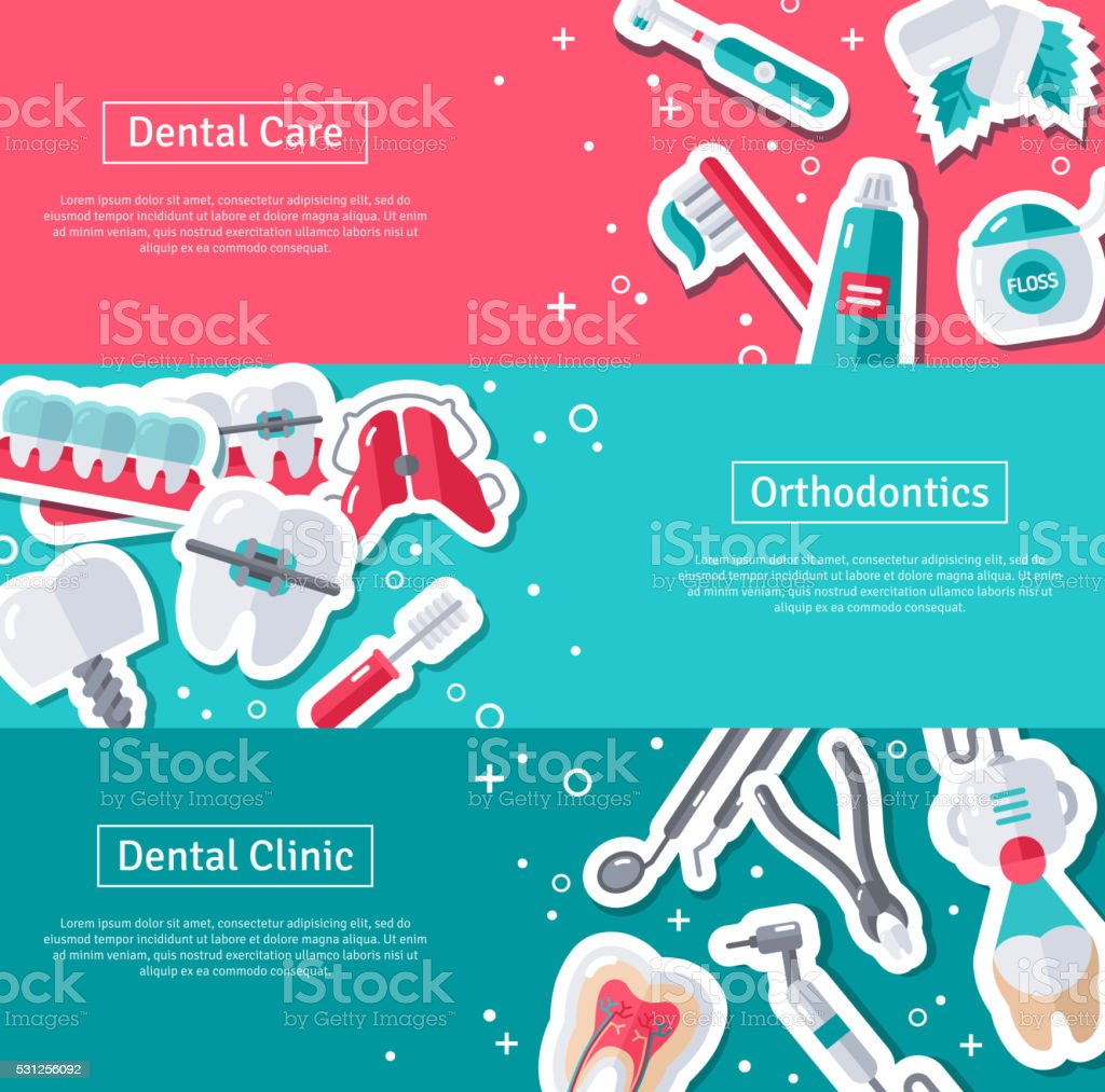 Set of Horizontal Banners about Dentistry vector art illustration