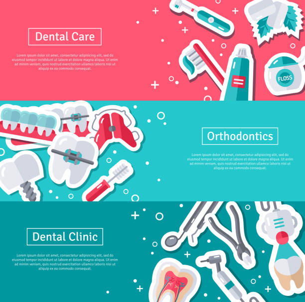 set of horizontal banners about dentistry - orthodontist stock illustrations, clip art, cartoons, & icons