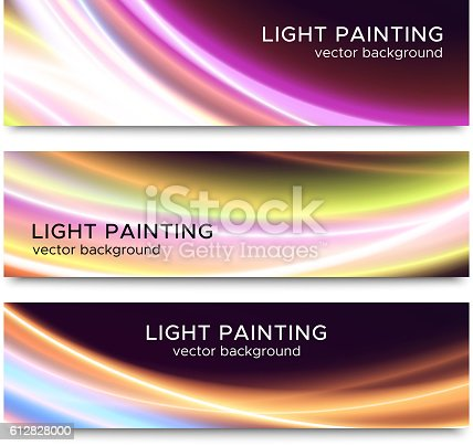 Set of horizontal banners with abstract waved light trails on black background for website header or flyer template. Vector illustration