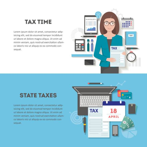 set of horizontal banners tax with place for text - accountant stock illustrations, clip art, cartoons, & icons