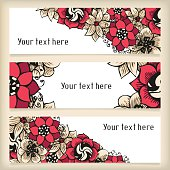 Set of horizontal banners with floral doodling flowers
