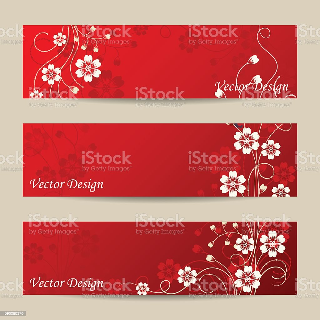 Set of horizontal banners with flowers royalty-free set of horizontal banners with flowers stock vector art & more images of abstract