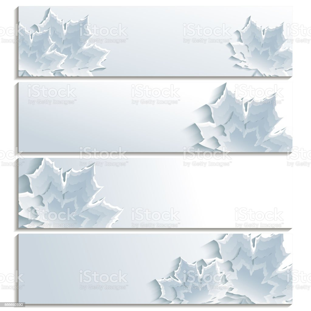 Set of horizontal banners with gray 3d maple leaf vector art illustration
