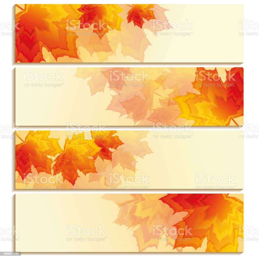 Set of horizontal banners with orange, red leaf maple vector art illustration