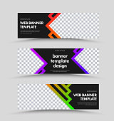 Set of horizontal black web banners with place for photo and stroke with color gradient. Standard size templates for advertising. Vector illustration