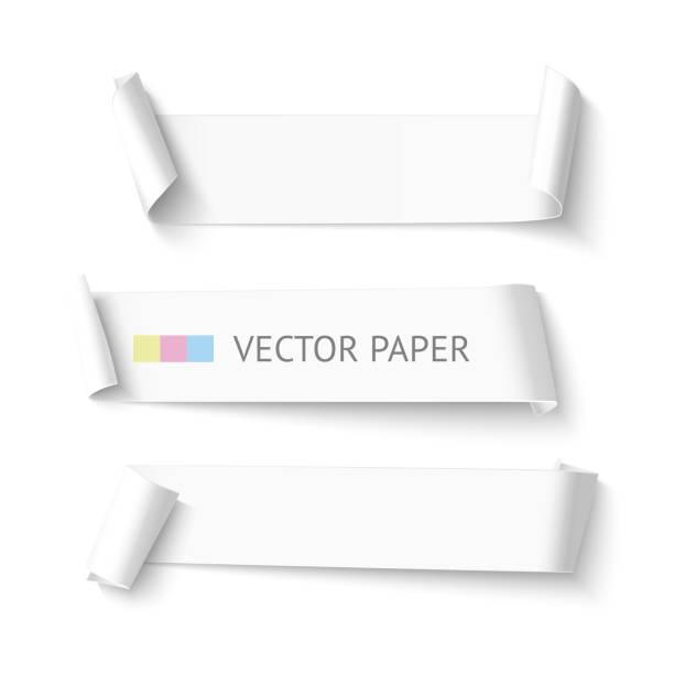 illustrazioni stock, clip art, cartoni animati e icone di tendenza di gruppo di carta bianca orizzontale vuoto banner nastro arrotondato. realistico - rotolo
